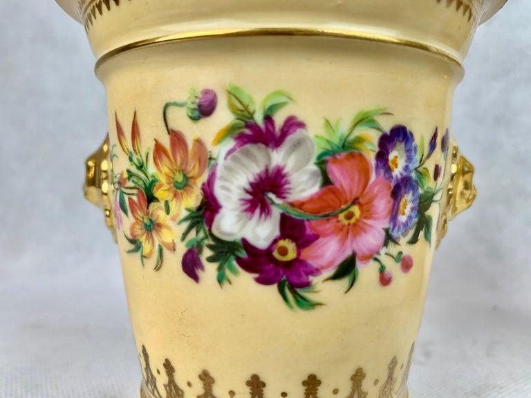 Empire  Darte Frères Pair of Bough Pots, Hand Painted-Paris, France For Sale