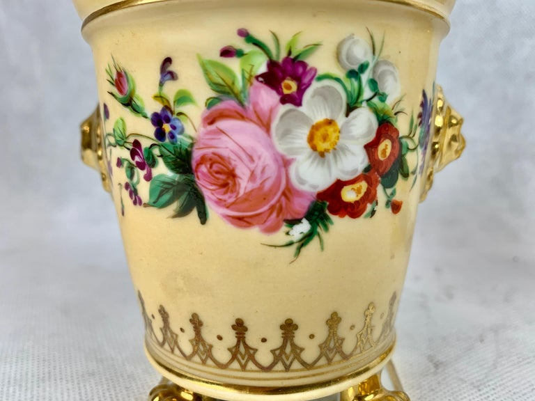French  Darte Frères Pair of Bough Pots, Hand Painted-Paris, France For Sale