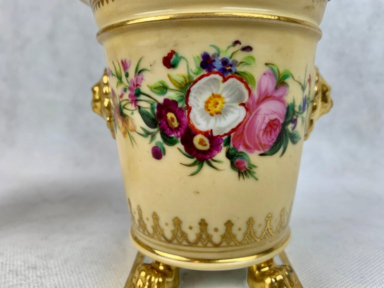 Darte Frères Pair of Bough Pots, Hand Painted-Paris, France In Good Condition For Sale In West Palm Beach, FL