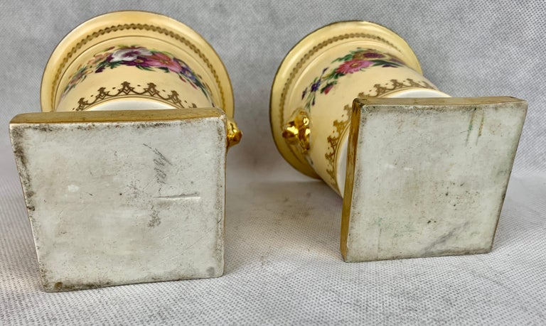 Porcelain  Darte Frères Pair of Bough Pots, Hand Painted-Paris, France For Sale
