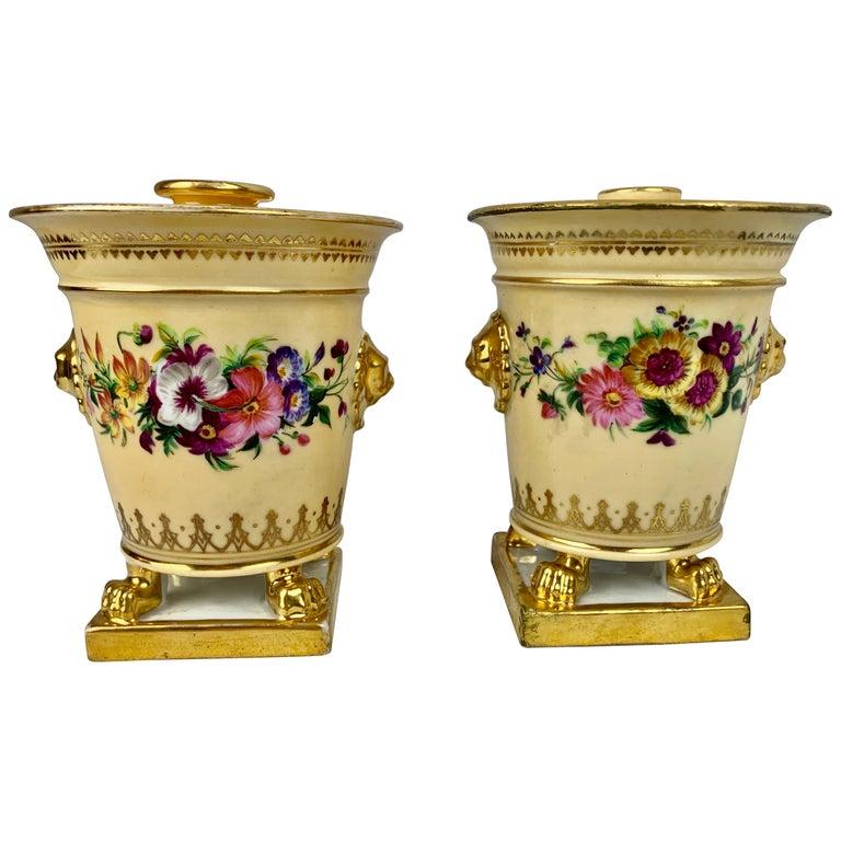 Darte Frères Pair of Bough Pots, Hand Painted-Paris, France For Sale