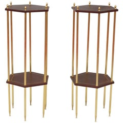 Pair of Small Hexagonal Side Tables, Contemporary work