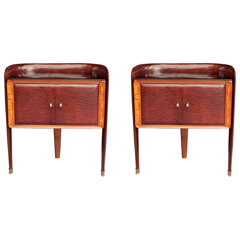 Pair of Small Italian Bedside Cabinets For Sale