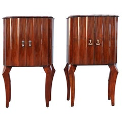 Pair of Small Italian Concave Mahogany Cabinets from 1950s Nightstand