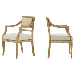 Pair of Small Italian Gilt and Paint Chairs