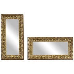 Pair of Small Italian Rococo Style Gilt Gesso Mirrors, Early 20th Century