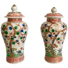 Pair of Small Japanese Imari Vases with Prunus Trees, Meiji Period 19th Century