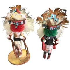 Pair of Small Kachina Dolls Hand Carved Decorated Signed by Artist