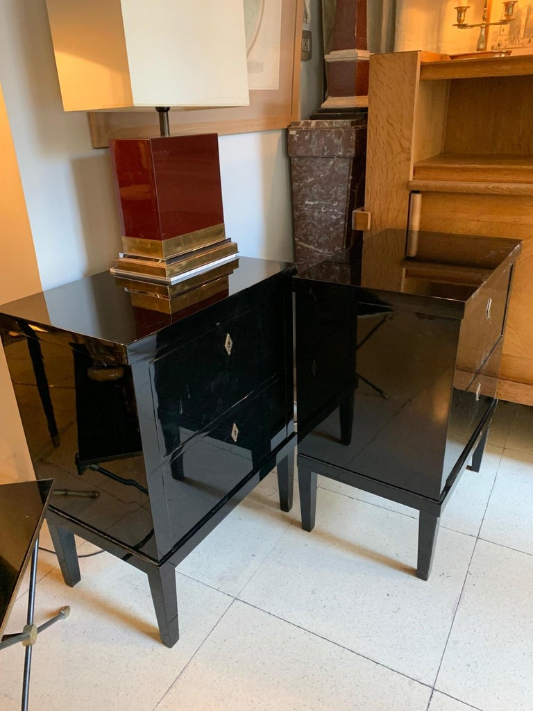 Pair of Small Lacquered Commodes or Bedside Tables Biedermeier Style 9