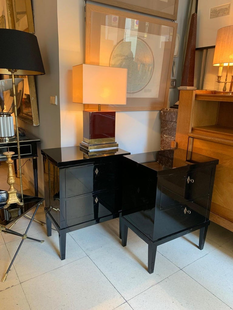 Pair of Small Lacquered Commodes or Bedside Tables Biedermeier Style 13