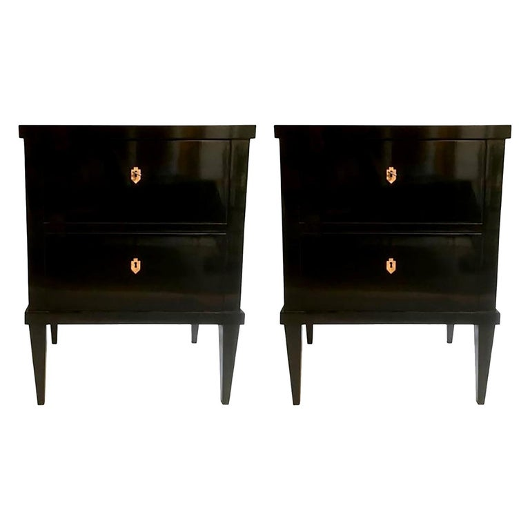 Pair of Small Lacquered Commodes or Bedside Tables Biedermeier Style