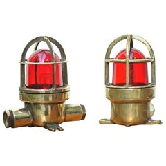 Pair of Small Lamp in Brass with Red Glass, France, circa 1950-1959