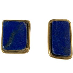 Pair of Small Lapis Lazuli and Gold Paper Weights