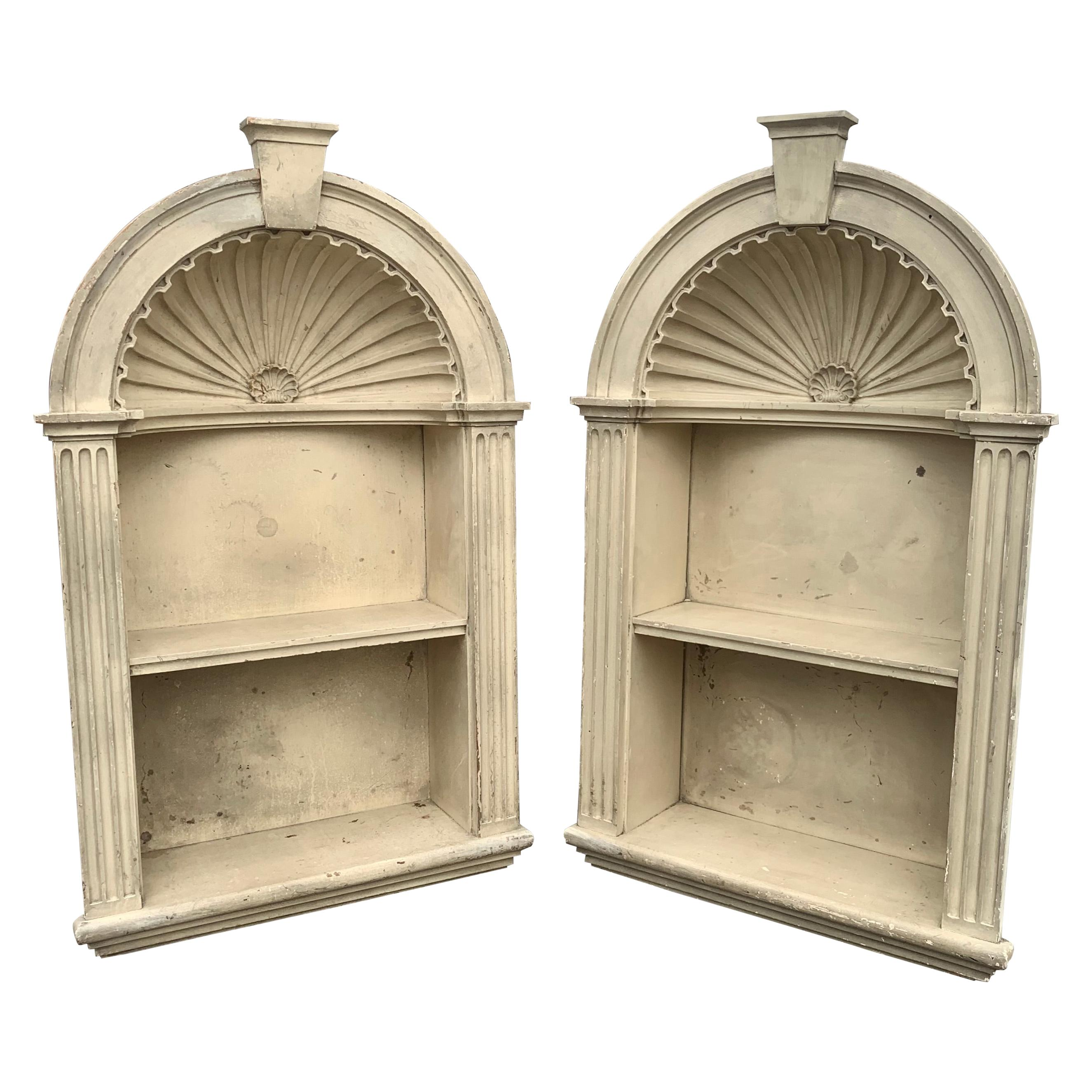 Pair of Small Late 19th Century Colonial Revival Neoclassical Niches