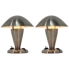 Pair of Small Metal Adjustable Bauhaus Table Lamps, 1940s