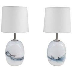 Pair of Small Michael Bang Art Glass Table Lamps