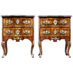 Pair of Small Mid-19th Century Continental Walnut Commodes