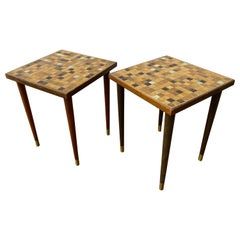 Pair of Small Murano Glass Topped Tile Tables