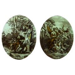 Pair of Small Neoclassical Style Stained Glasses, 19th Century