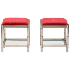 Pair of Small Nickel Plated Italian Upholstered Stools