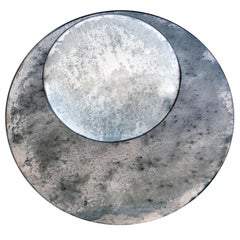 Pair of Small Oxidized Circular Mirrors
