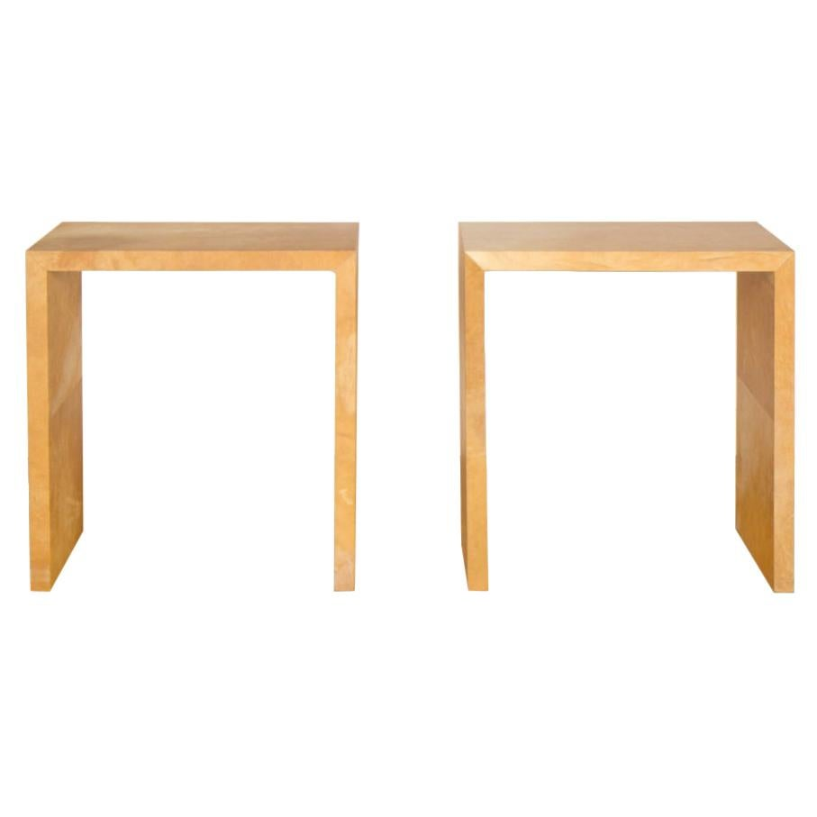 Pair of Small Parchment Console Tables in the Manner of Jean-Michel Frank