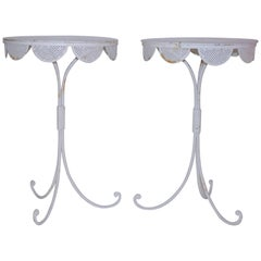 Pair of Small Pedestal Tables, White Lacquered Iron, circa 1960, France