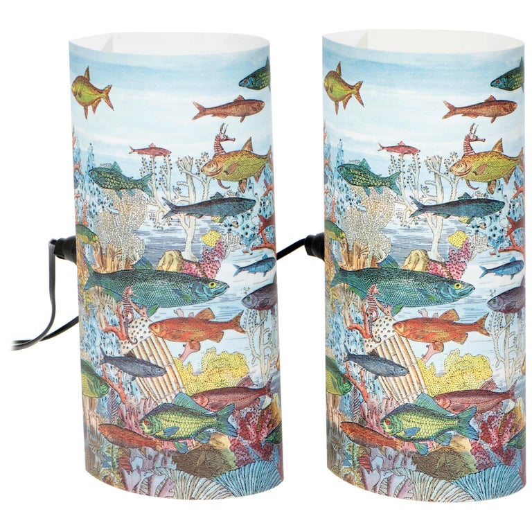 "Pair of Small Perspex Table Lamps ""Aquario Medio"", Barnaba Fornasetti Italy 1995 For Sale"
