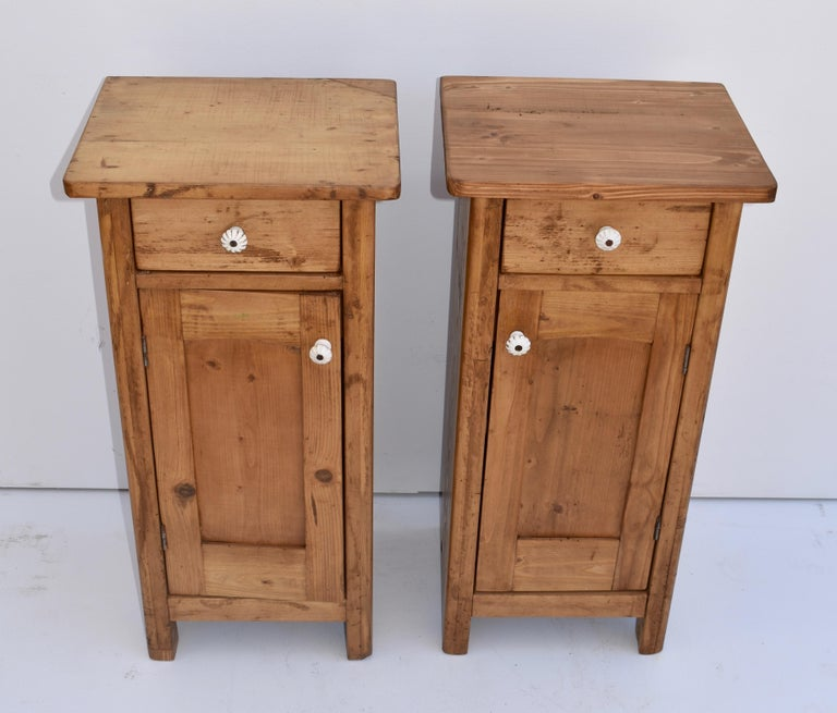 This pair of small pine nightstands once stood each side of the now lost mirror of a dressing table.