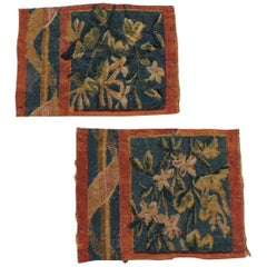 Pair of Small Pink and Blue Aubusson Tapestry Fragments