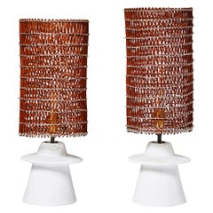 Pair of Small Plaster and Wicker Table Lamps