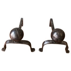 Pair of Small Polished Iron Andirons with Large Ball Mounts