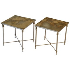 Pair of Regency Square Side Tables with Distressed Mirror Tops