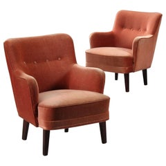 Pair of Small Rose-Colored Armchairs