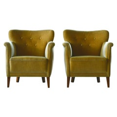 Pair of Small Scale Danish Lounge Chairs in Mohair, Denmark, 1950