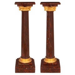 Pair of Small Scale 19th Century Louis XVI Style Marble and Ormolu Columns