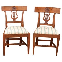 Pair of Small Scale French Fruitwood Side Chairs with Carving, circa 1850