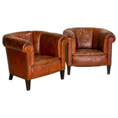 Pair of Small Scale Vintage Leather Club Chairs from England