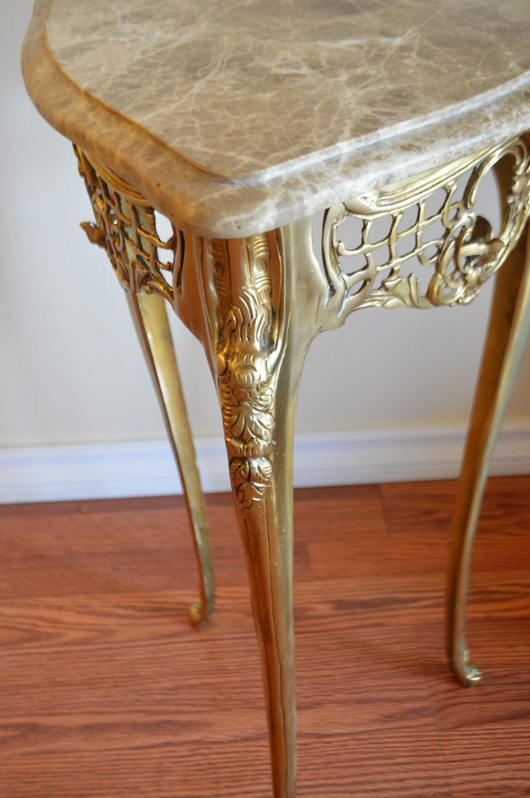 Louis XV Pair of Small Side Tables, Bronze Base, Highly Decorative, Lace, Birds, Marble For Sale