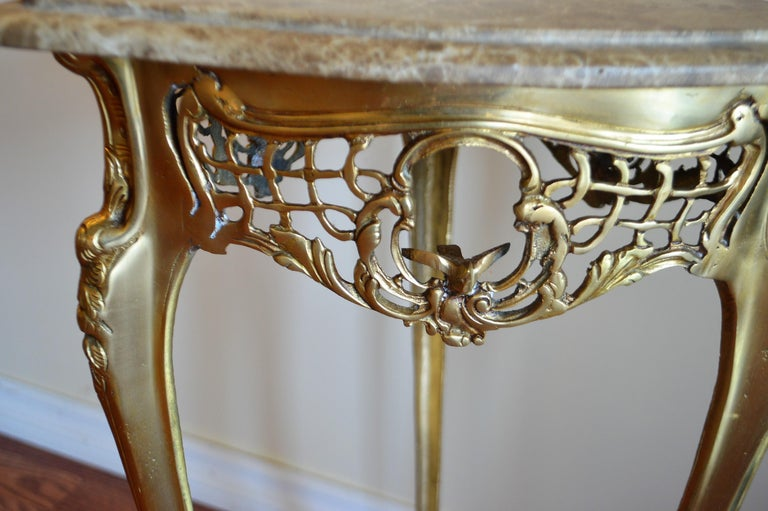 French Pair of Small Side Tables, Bronze Base, Highly Decorative, Lace, Birds, Marble For Sale