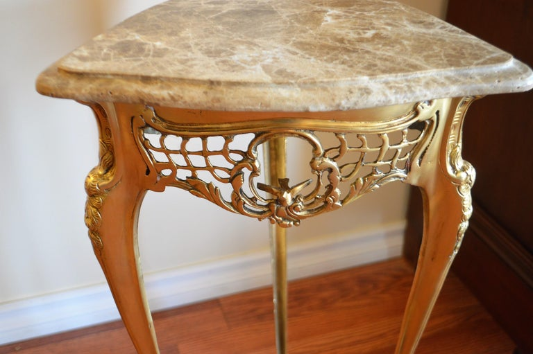 Gilt Pair of Small Side Tables, Bronze Base, Highly Decorative, Lace, Birds, Marble For Sale