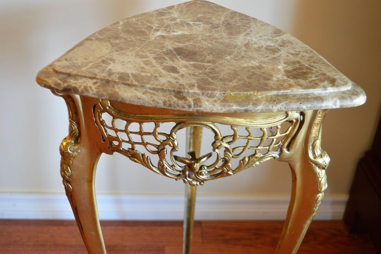 Pair of Small Side Tables, Bronze Base, Highly Decorative, Lace, Birds, Marble In Excellent Condition For Sale In Oakville, ON