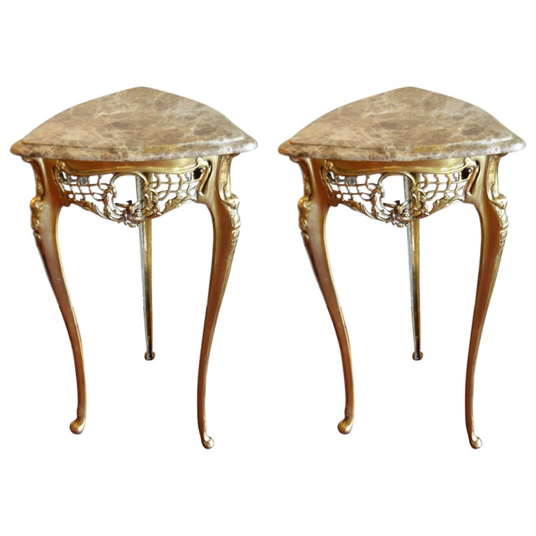 Pair of Small Side Tables, Bronze Base, Highly Decorative, Lace, Birds, Marble For Sale