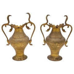 Pair of Small Snake Vases