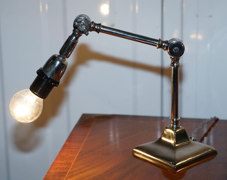 Modern Pair of Small Solid Polished Metal Table Lamps with Two Points of Articulation For Sale