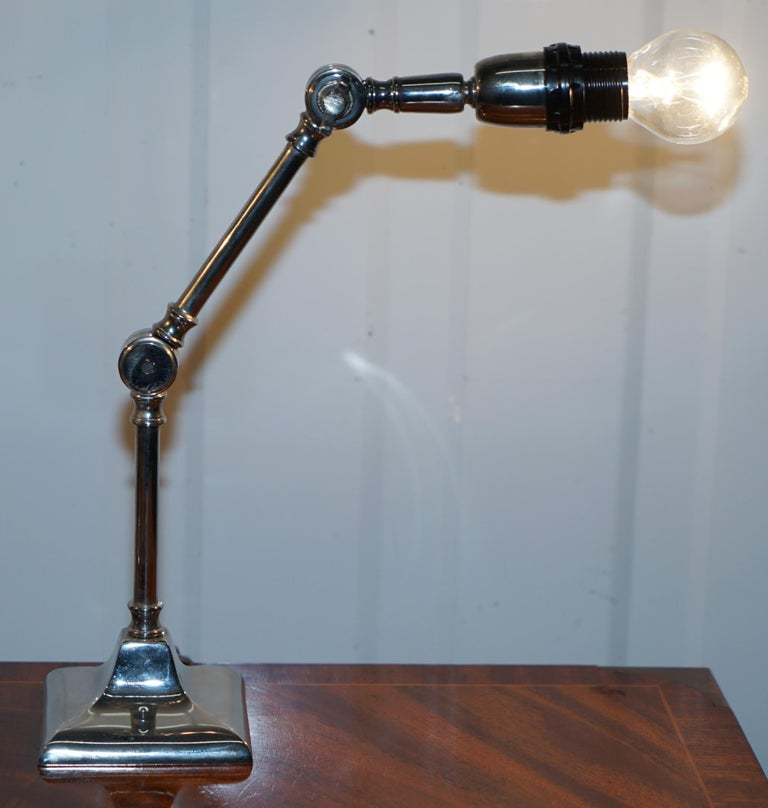 Hand-Crafted Pair of Small Solid Polished Metal Table Lamps with Two Points of Articulation For Sale