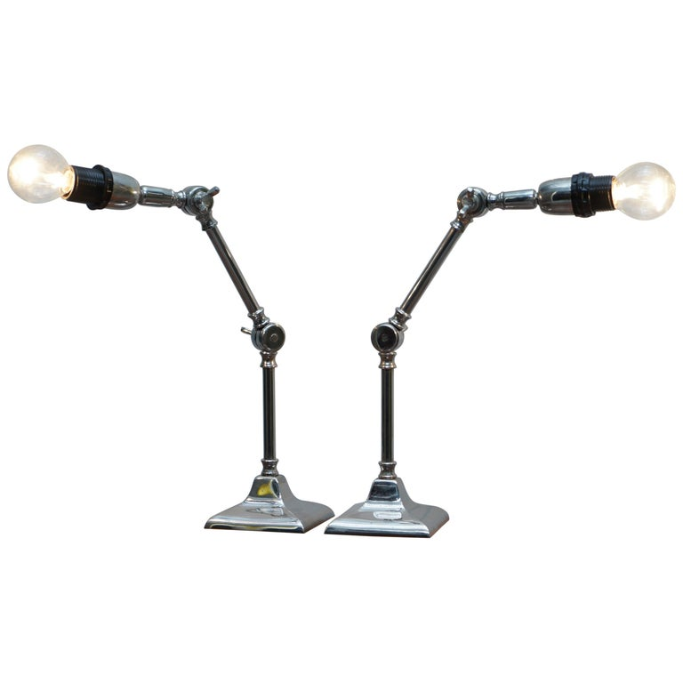 Pair of Small Solid Polished Metal Table Lamps with Two Points of Articulation For Sale