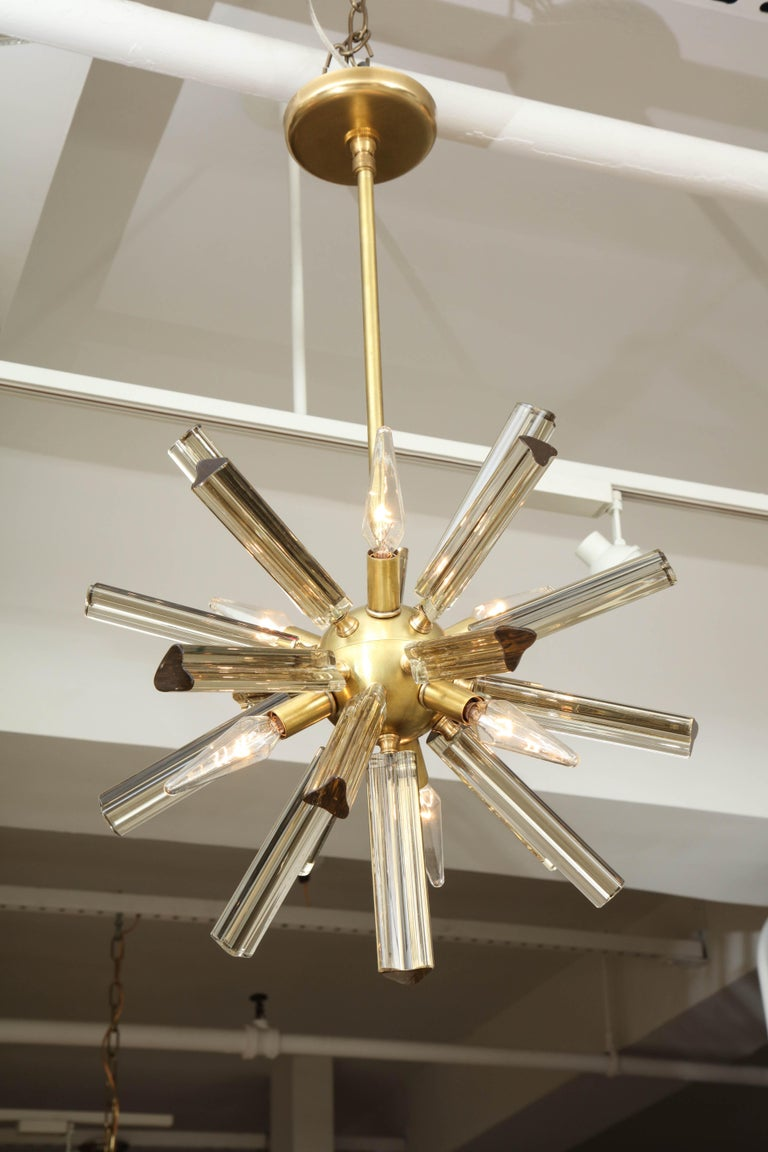 Italian Pair of Small Sputnik Chandeliers For Sale