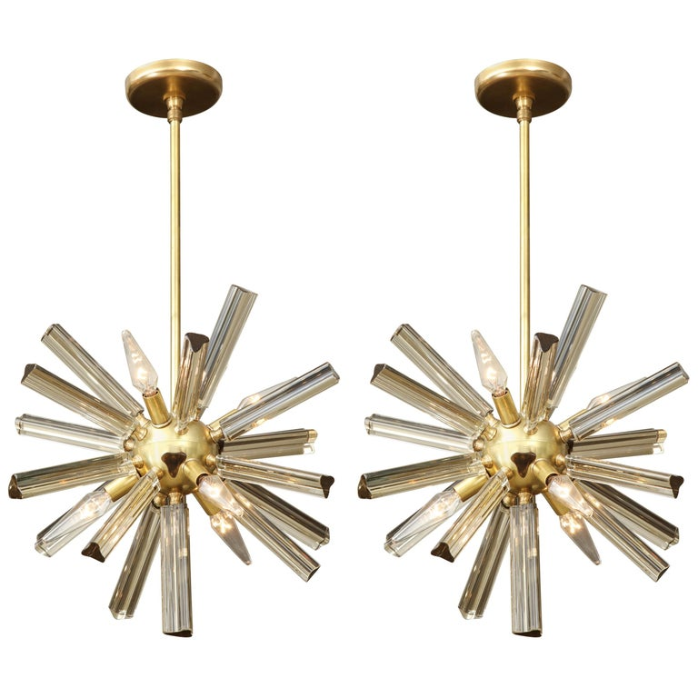 Pair of Small Sputnik Chandeliers For Sale