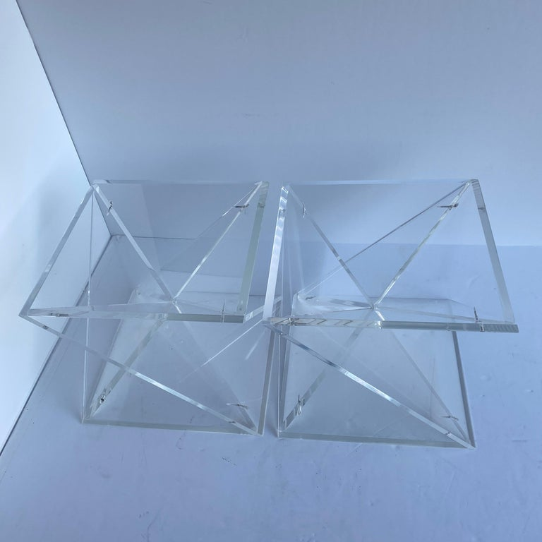 Pair of Small Square Mid-Century Modern Lucite Side Table Bases For Sale 4